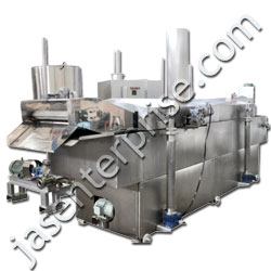 continuous namkeen frying system with heat exchanger
